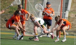 Senior Lindsey Robinson notched the game-winning goal in the Bullets' match-up against CC rival, Franklin & Marshall. The Lady Bullets came out of the nail-biter 12-11 and earned a first round bye in the CC tournament. (Photo courtesy of David Sinclair)