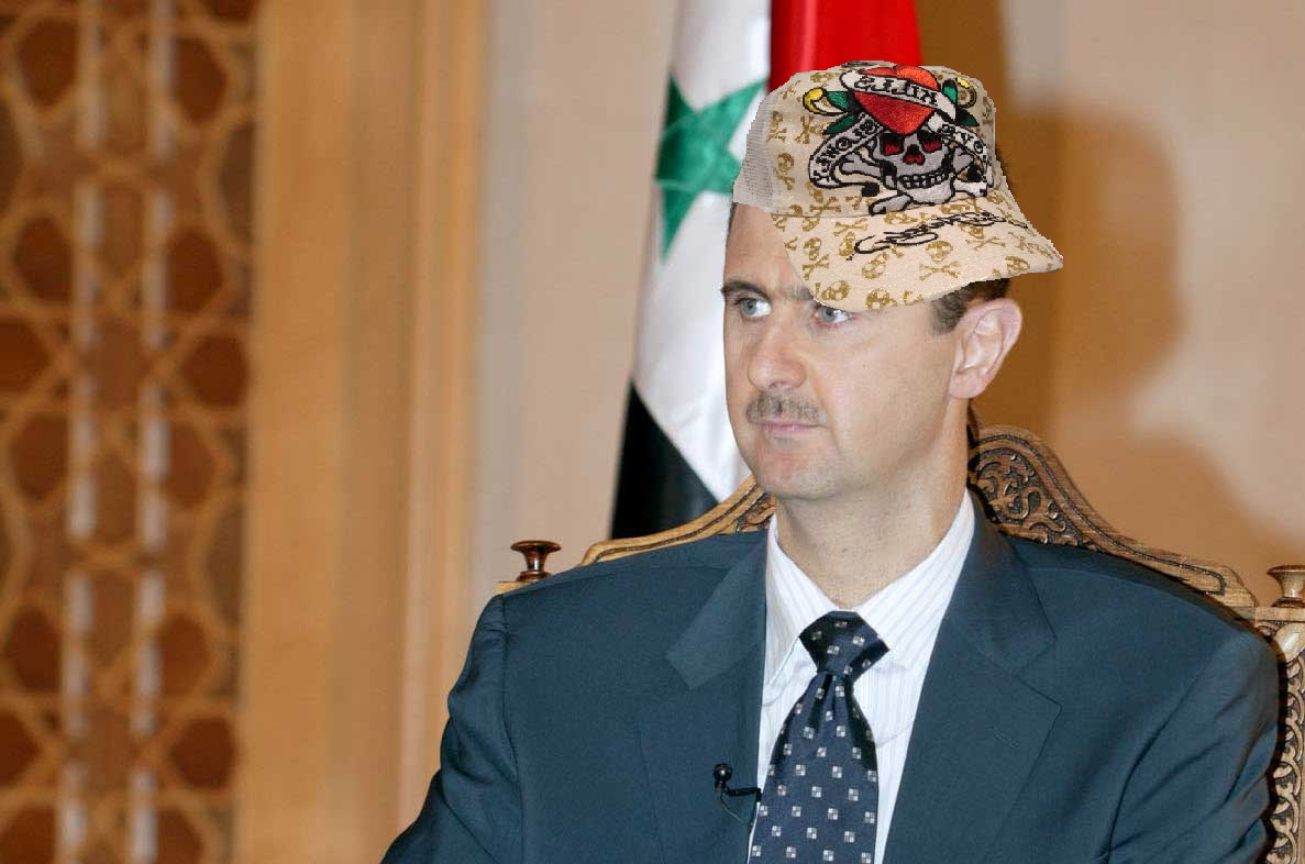 Recent UN investigations have revealed a number of caches of AXE body spray and Ed Hardy apparel, as worn here by Syrian President Bashar al-Asshad.