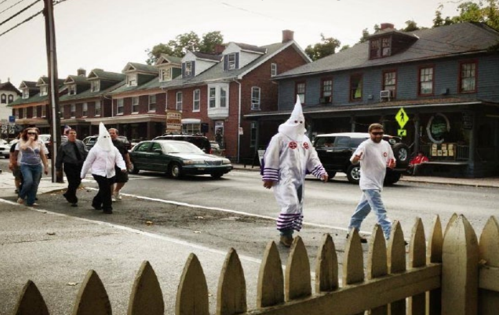 Members of the Ku Klux Klan marched down the streets of Gettysburg on Saturday. Photo Courtesy of Brent C. Talbot
