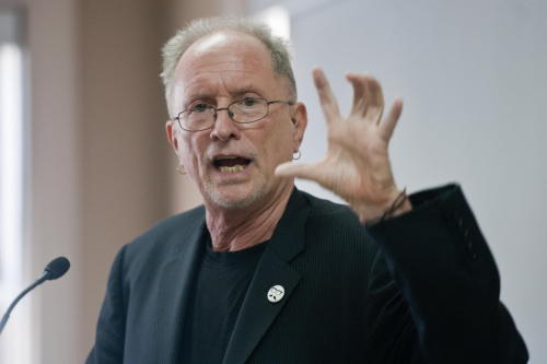 Educator and activist Bill Ayers speaks to Gettysburg College students about the American  education system. Photo Credit: The Evening Sun