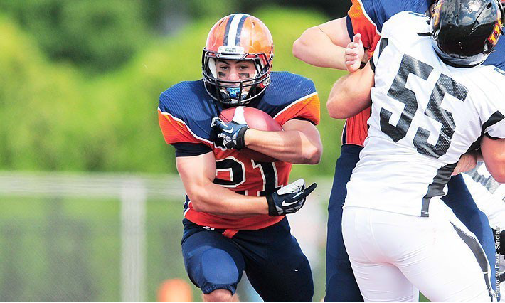 Sophmore Kyle Whigley proved last Saturday that he is one of the fastest players in the Centennial Conference in the second quarter. Starting on Gettysburg's 25 yard line, Whigley broke through the line, narrowly escaped tackle after tackle, then shifted into another gear as he out-run the secondary on his way to a sixty-three yard touchdown. Whigley finished the day with 135 yards. Photo Courtesy of David Sinclair