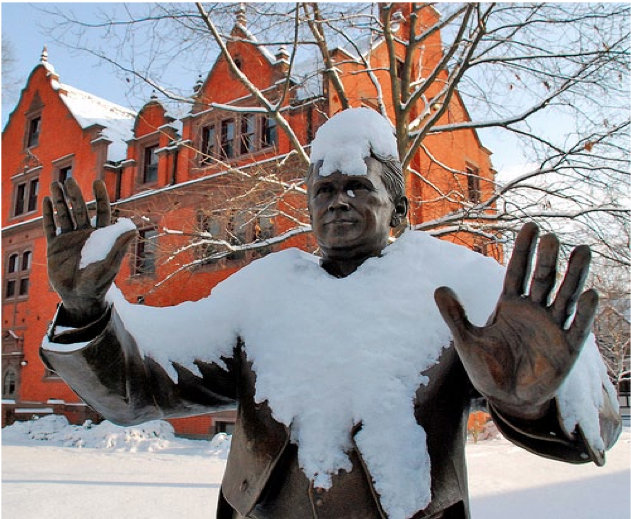 The statue between McKnight Hall and Schmucker Hall expresses his feelings about the snow. Photo Credit: Gettysburg College Photo Stream