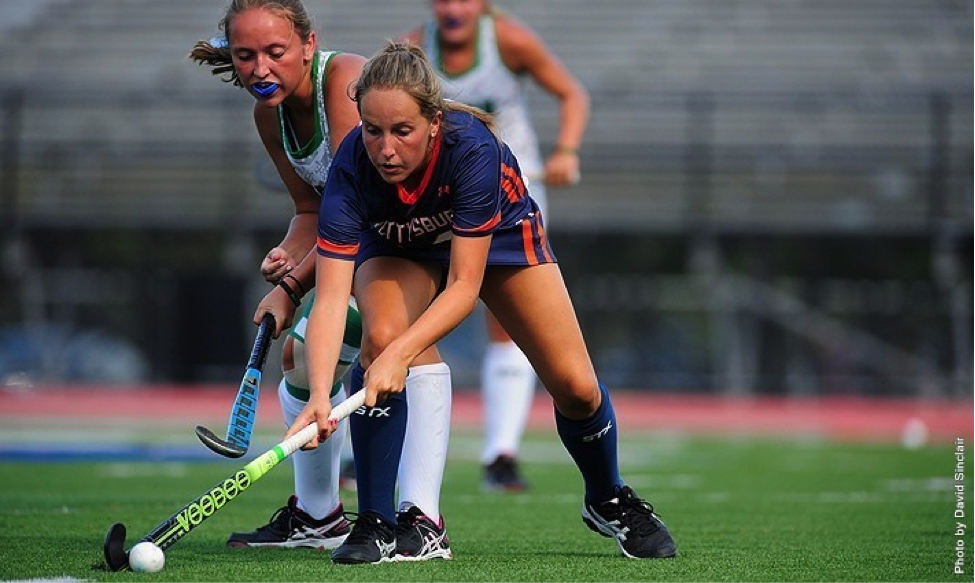 Photo courtesy of Gettysburg College website. Junior Samantha Wright picked up her sixth and seventh goals of the season at Cabrini.