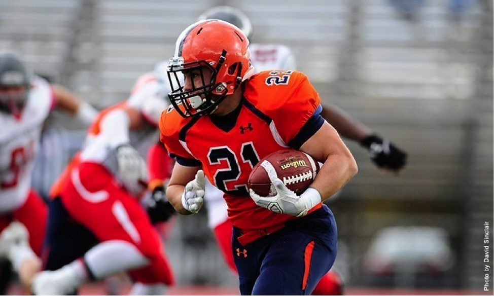 Photo courtesy of Gettysburg College website. Senior Kyle Wigley gained 134 yards on 25 carries against No. 8 Johns Hopkins.