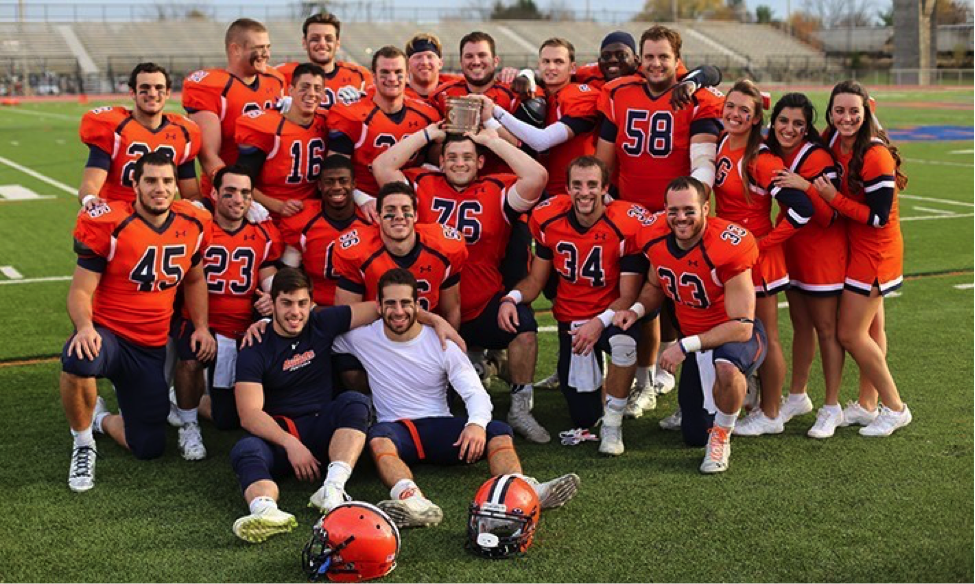 Photo courtesy of Gettysburg College Website. The Bullet seniors pose with the Little Brown Bucket following the 20-17 win over Dickinson.