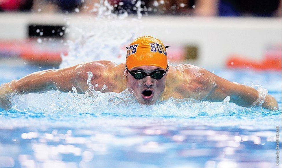 Photo courtesy of Gettysburg College website. Senior Tyler Gould won the 100-freestyle against Messiah and Susquehanna.