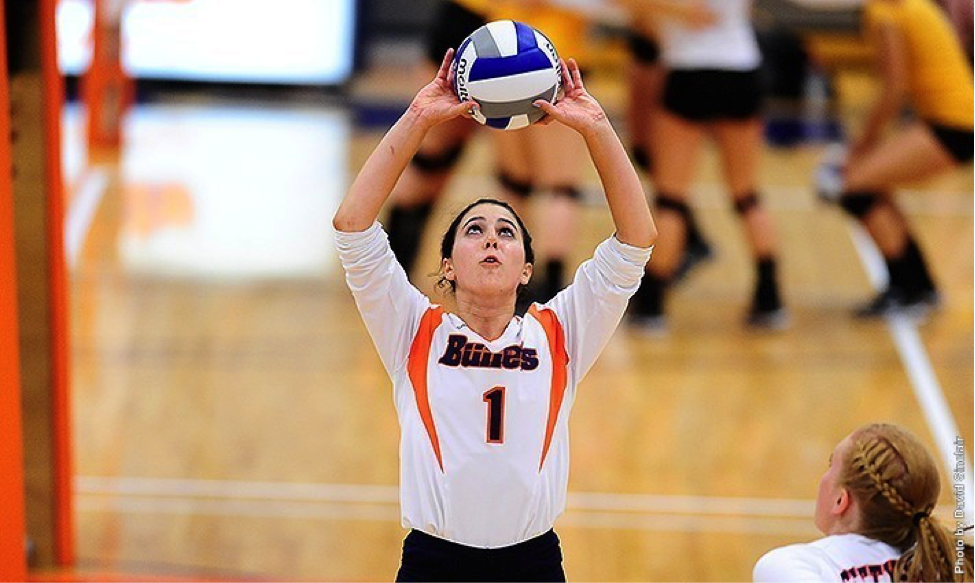 Photo courtesy of Gettysburg College website. Sophomore Stephanie Blair recorded 31 assists and 12 digs against Johns Hopkins.