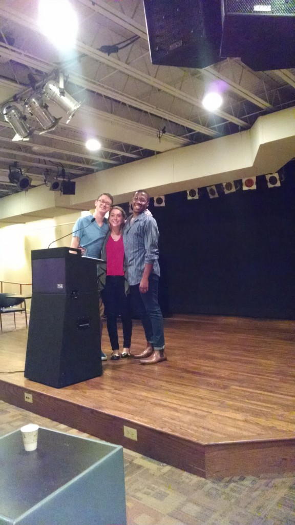 Luke Frigon, Katie Bolger and Michael Deleon shine at The Mercury's Write Night. Photo credit to the author.