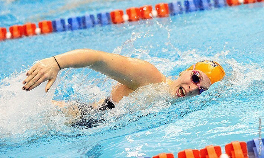 Photo courtesy of Gettysburg.edu. Sophomore Nicole Farina won the 100-butterfly versus McDaniel.