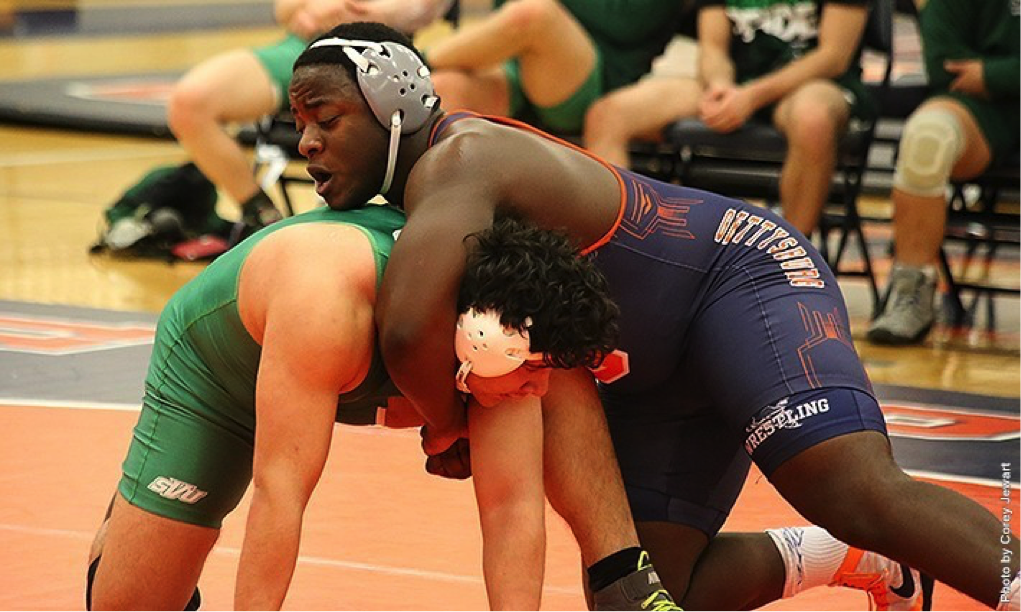 Photo courtesy of gettysburg.edu. First-year Paul Triandafilou was named Centennial Conference Wrestler of the week. The heavyweight wrestler is 15-0 and ranked eighth in the nation this season.