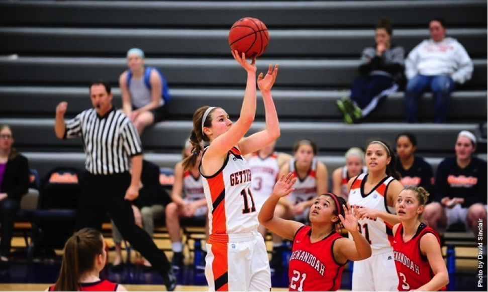 Photo courtesy of Gettysburg Athletics. Senior Jessica Porter scored fifteen points in Saturday's matchup against Washington College, putting her in a three-way tie in the conference standings.