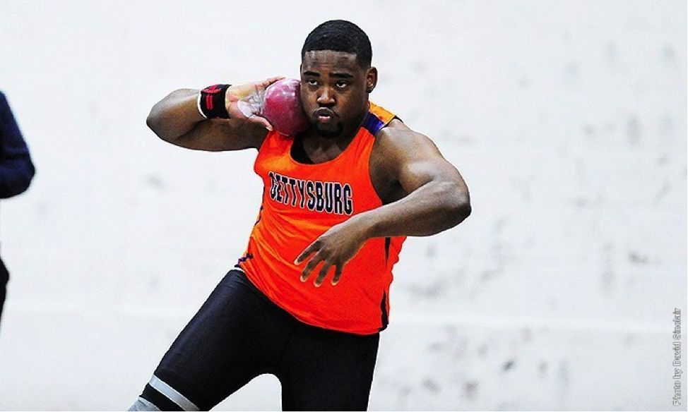 Photo courtesy of Gettysburg Athletics. Senior Andre Hinds placed third among 41 competitors in the shot put at the Susquehanna Open.
