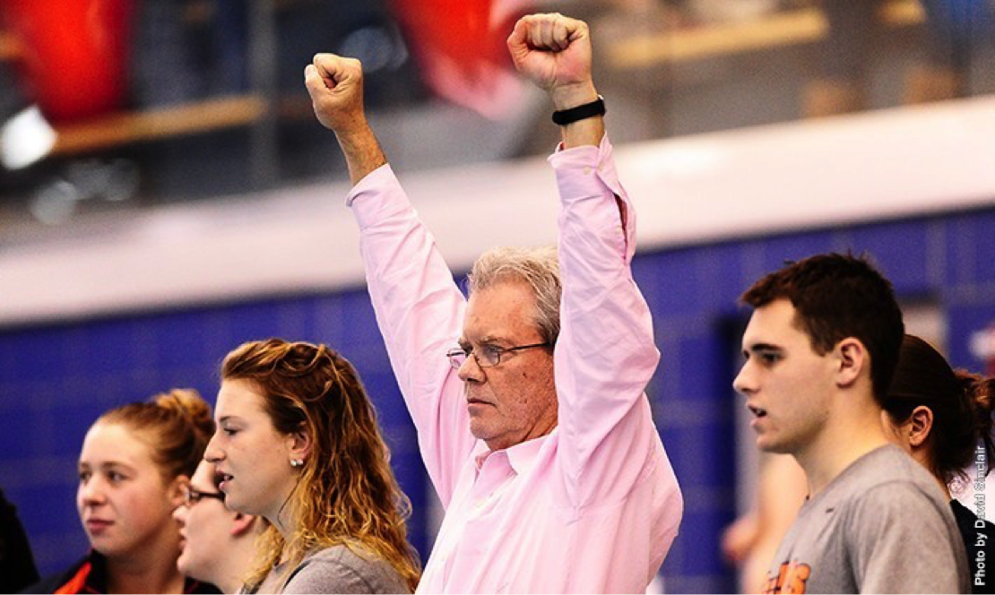 Photo courtesy of Gettysburg Athletics. Head Coach Mike Rawleigh racked up his 500th win as the Bullets swim coach.