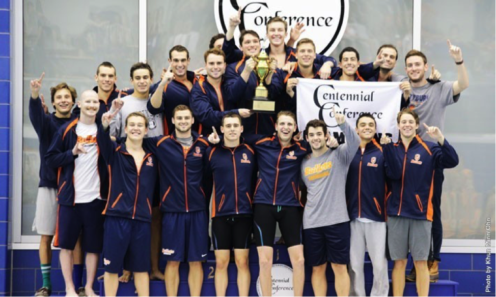 Photo courtesy of Gettysburg Athletics. The men's swimming team earned their sixth consecutive Centennial Conference title.