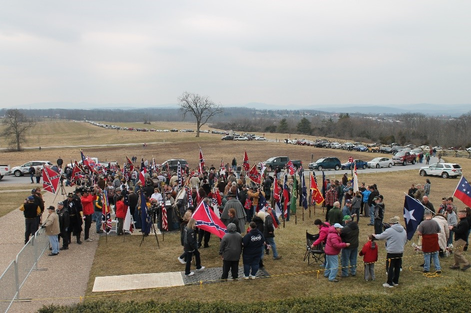 About 100 people came out to show their support for the Confederate flag. Photo credit to the author.