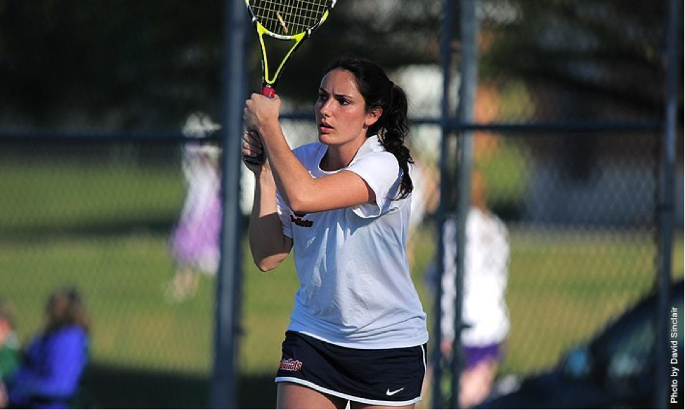 Photo courtesy of Gettysburg Athletics. Junior Laura Gradiska improved to 4-1 with a win at No. 2 singles against Nazareth.
