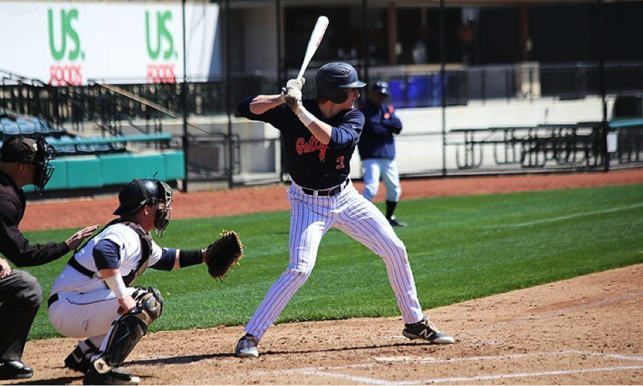 Photo courtesy of Gettysburg Athletics. Senior Henry Klimowicz earned his second home run of the season and drove in three runs in the Bullets match-up with Stevenson.