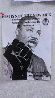 YAF used posters contrasting BLM with Martin Luther King, Jr. and the Civil Rights Movement. Photo courtesy of Annika Jensen.