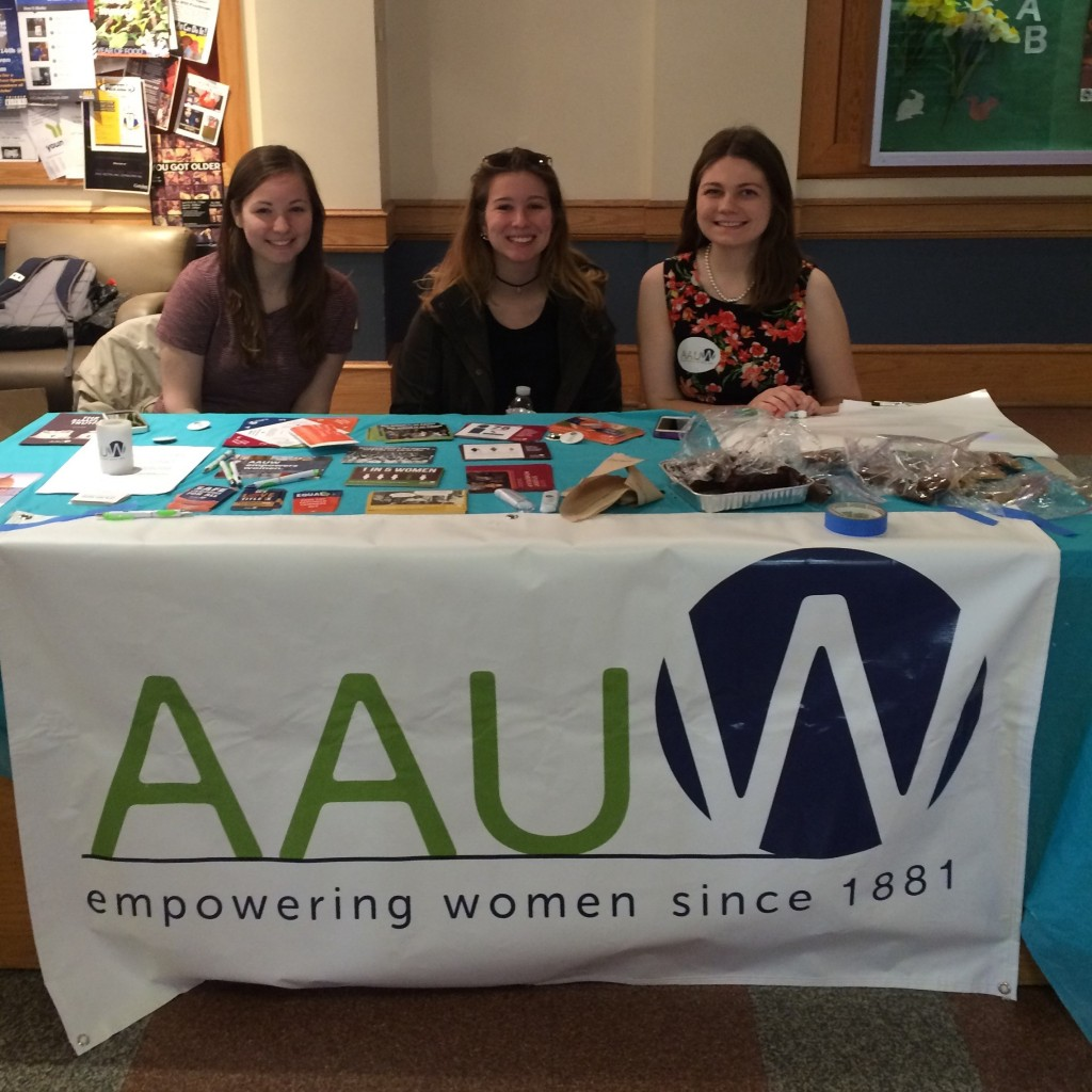 Members of Gettysburg College's AAUW holding their gender gap bake sale (Left to Right): Jenna Fleming, Daniella Snyder, Francesca Nolen. Photo courtesy of the author.