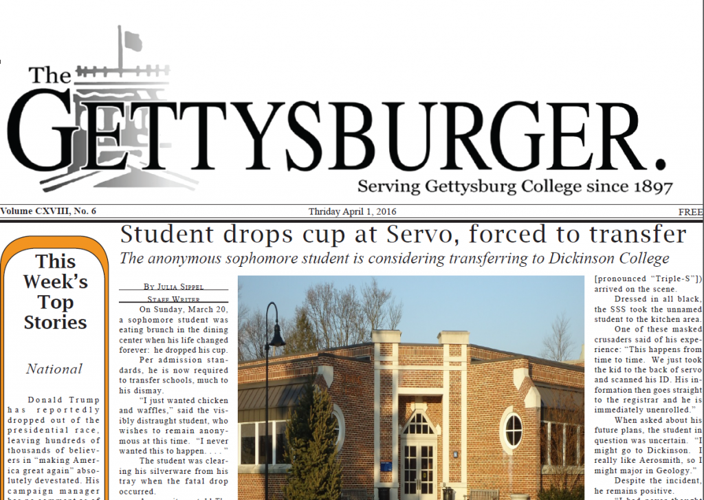 Hard hitting news journalism can be found in this week's issue of the Gettysburger. Photo Credit: Screenshot/The Gettysburgian