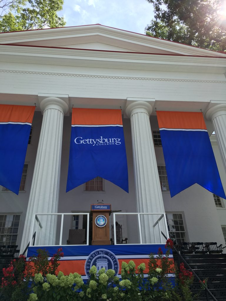 The Beachem Portico is decorated in orange and blue for the 185th Opening Convocated held August 24. Photo courtesy of Jamie Welch.
