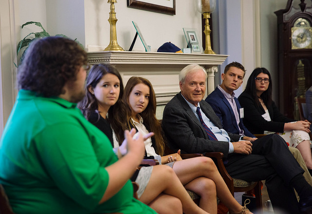 Chris Matthews and Howard Fineman visited campus to discuss political issues with students. Photo credit: GCC&M