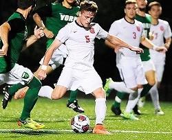 Junior Patrick Santini scored one of the two goals in Saturday's game versus Swarthmore College. Photo Credit: David Sinclair GC C&M