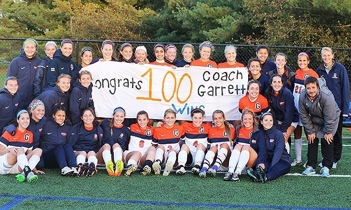 Matt Garrett notched his 100th win as Gettysburg's women's soccer coach last season (Photo courtesy of Gettysburg College Athletics)