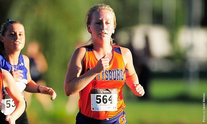 Senior Amanda Wivell finished sixth for Gettysburg at the Messiah Invitational with a time of 26:11. Photo credit: David Sinclair, GCC&M