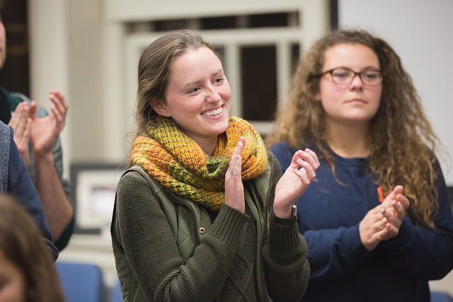 Music education majors Meghan Riley and Miranda Bubenheim participate in Castle of our Skins session