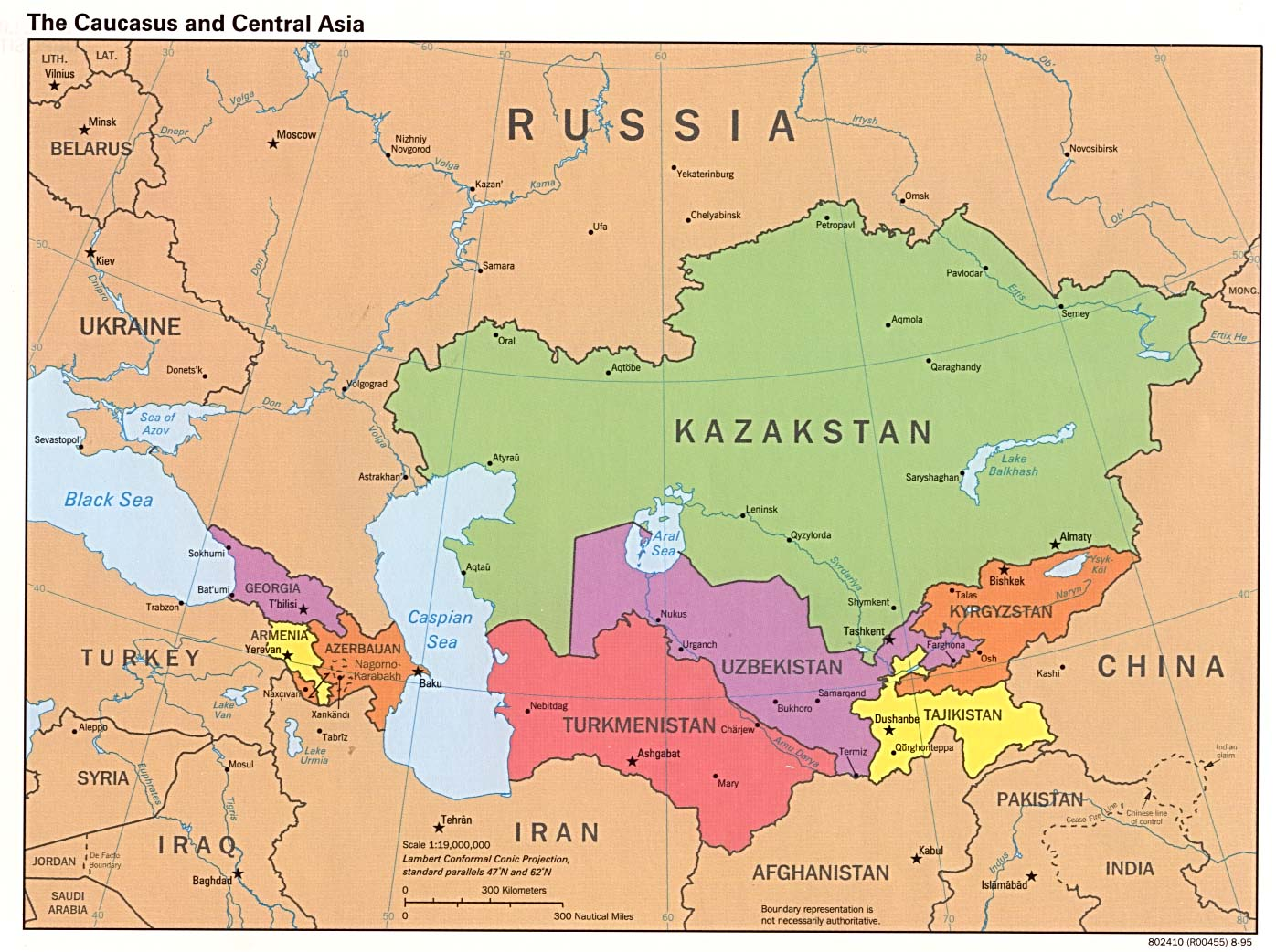 A map of the Caucasus region of former Soviet states