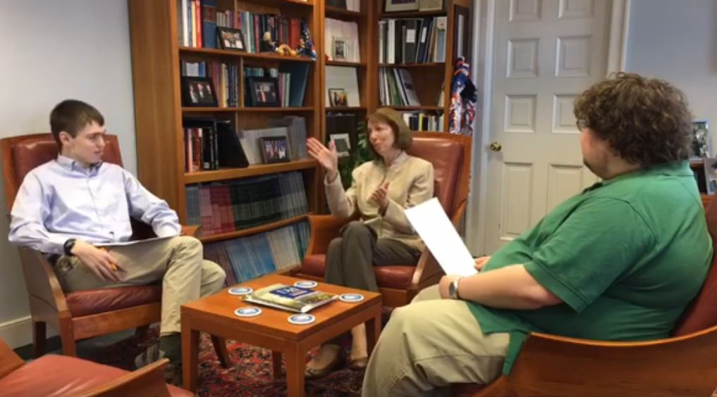 The Gettysburgian's news editor Benjamin Pontz (L) and editor-in-chief Jamie Welch (R) interview Gettysburg College President Janet Morgan Riggs (center) on a range of issues facing the campus
