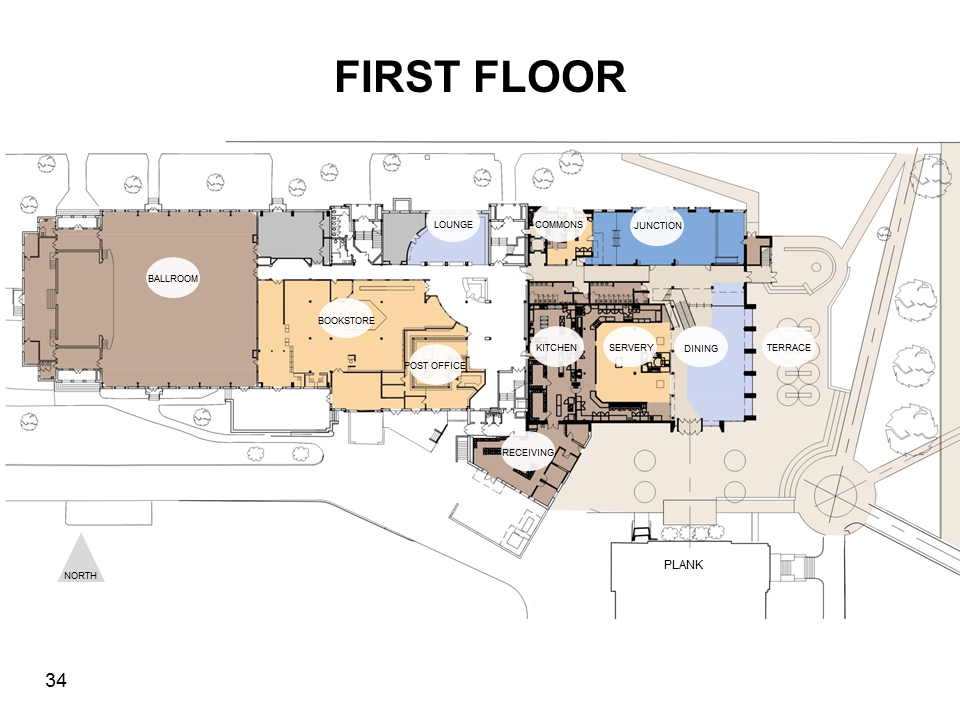 The design for the first floor of the re-designed CUB (Photo courtesy of Gettysburg College)