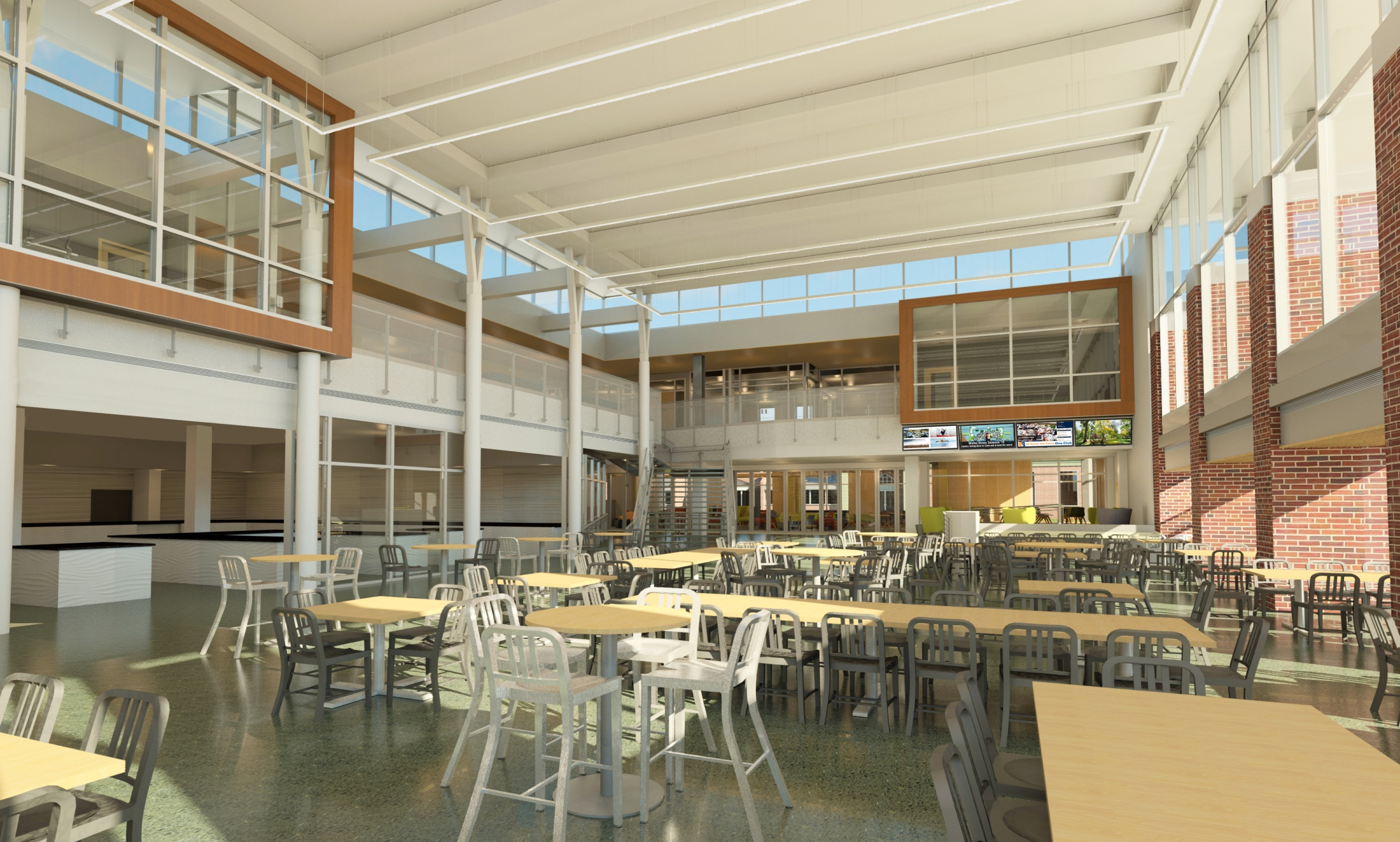 A rendering of the first floor of the re-designed CUB, including the Bullet Hole seating area (Photo courtesy of Gettysburg College)
