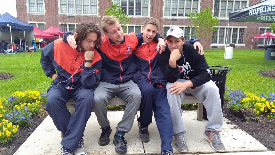 Andy Milone (on left) with some of his friends from the Gettysburg College Cross Country team. Photo courtesy of Colleen Campbell