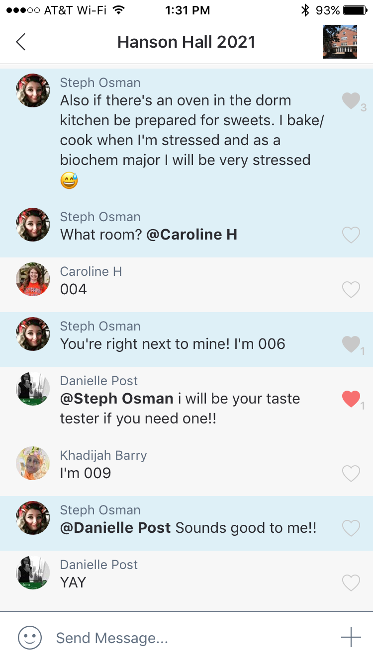 A screenshot from a group chat set up by the Class of 2021