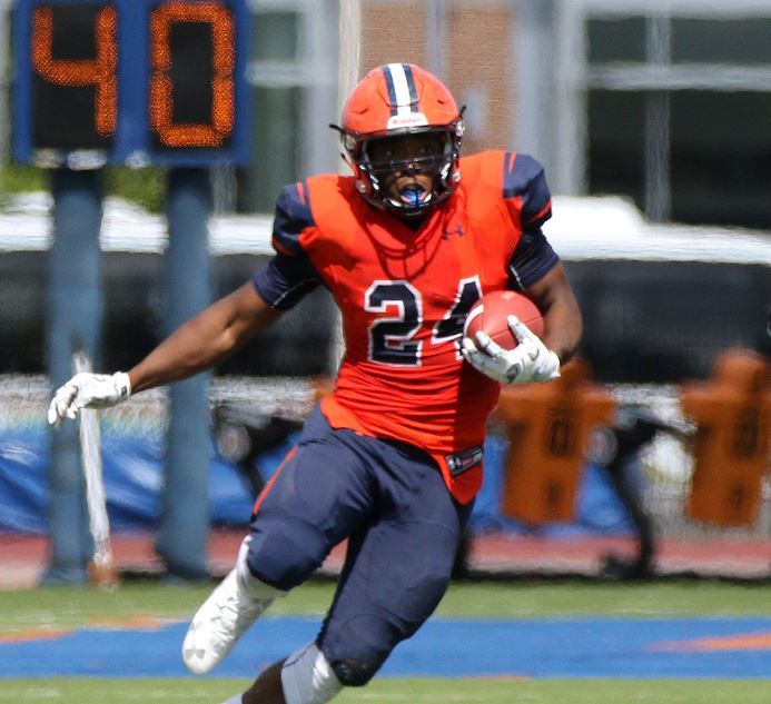 First-year running back Reggie JeanCharles was a relentless force on offense for the Bullets, who came up just short against Ursinus 35-28 Photo courtesy of Gettysburg College Athletics