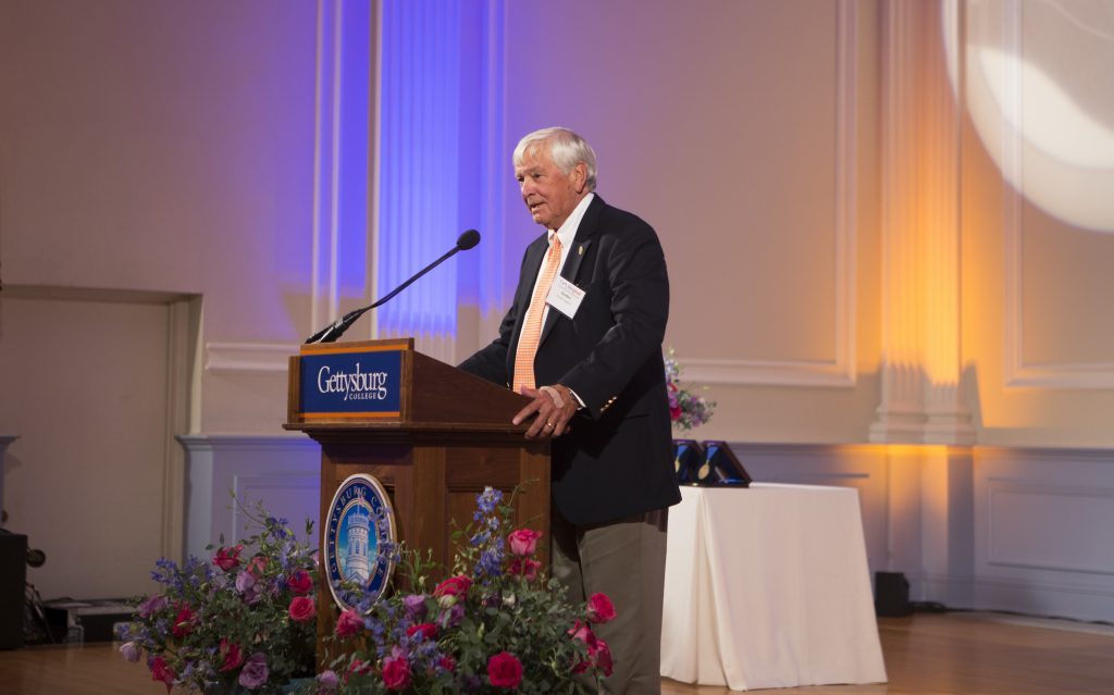 President Emeritus Gordon Haaland speaking at a college event in September 2014 (Photo Gettysburg College Communications and Marketing)