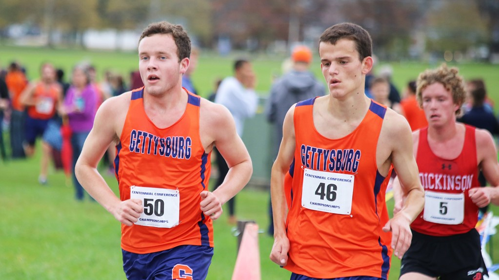 Sophomore Sam Sheldon (left) and junior Alex Petrecca (right) were the top Bullet finishers in Saturday's race. (Photo Courtesy of Gettysburg College Athletics)