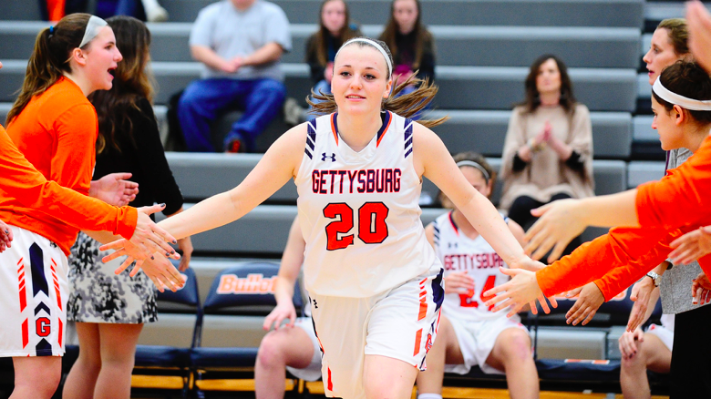 Junior Emma Dorshimer helped to lead the Bullets to victory in their first Centennial Conference matchup (Photo courtesy of Gettysburg College Athletics)