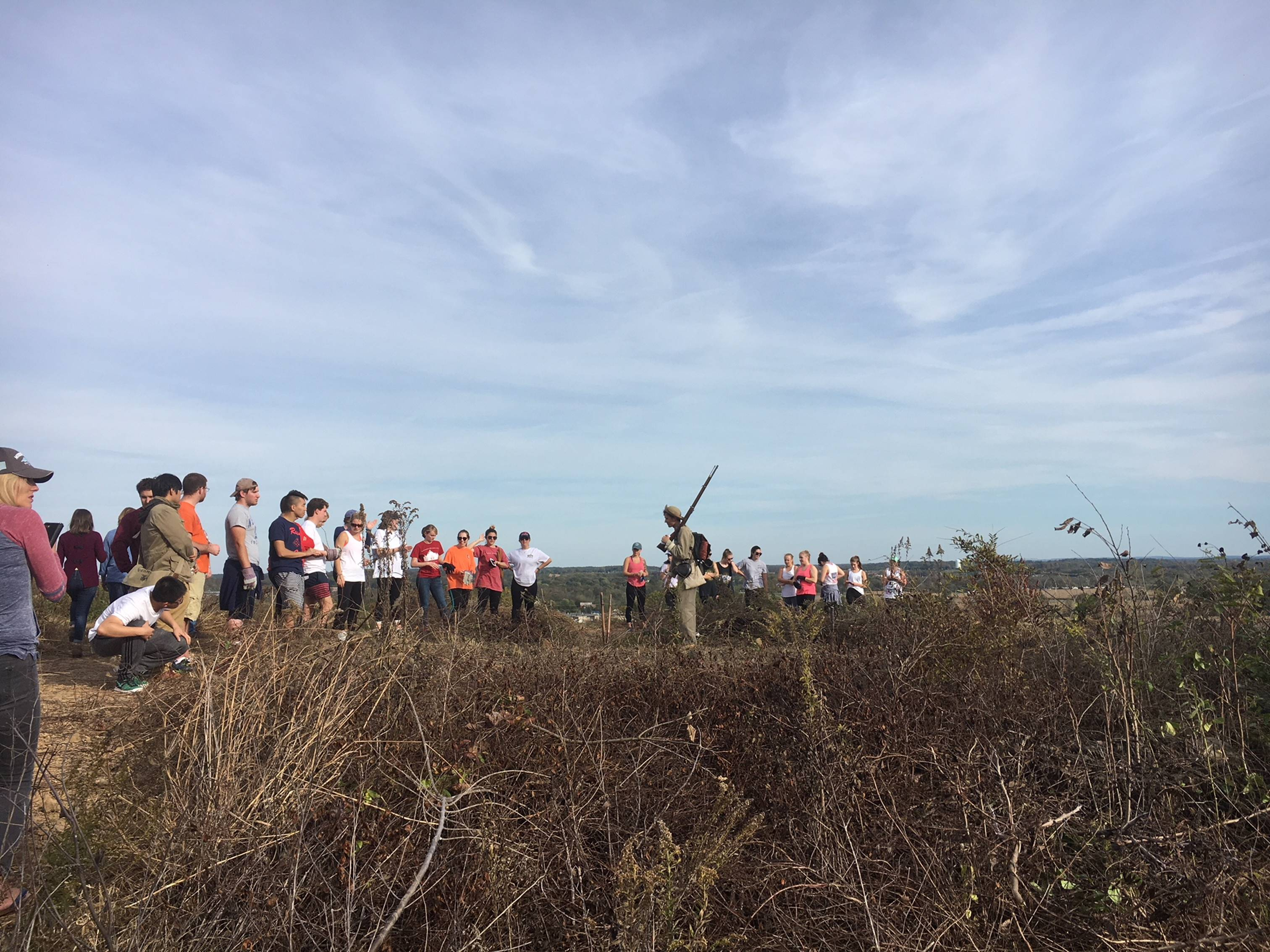 Gettysburg students recently helped perform maintenance at the battlefields (Photo courtesy of Ned Hughes)