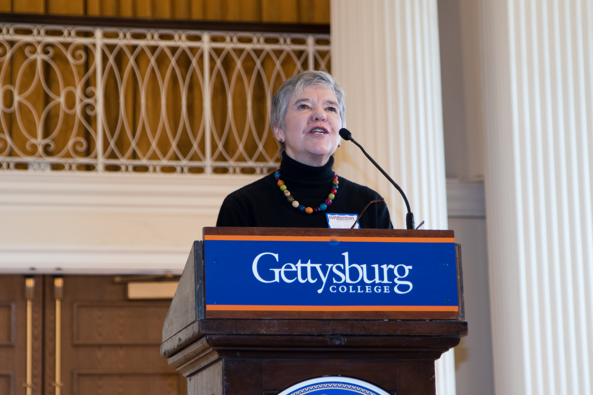 Dr. Kay Hoke speaks at the Sunderman Conservatory's 10th Anniversary Symposium in 2016 (Photo courtesy of Gettysburg College)
