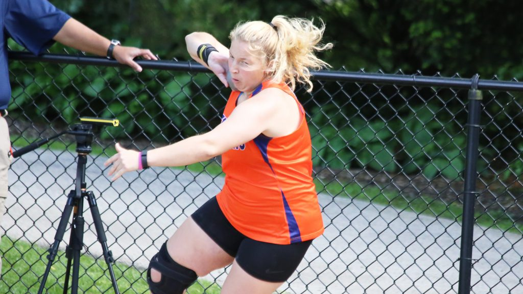 Senior Mikaela Collins broke the school record for shot put by almost two feet Saturday at the Diplomat Open. (Photo courtesy of Gettysburg College Athletic Communications)
