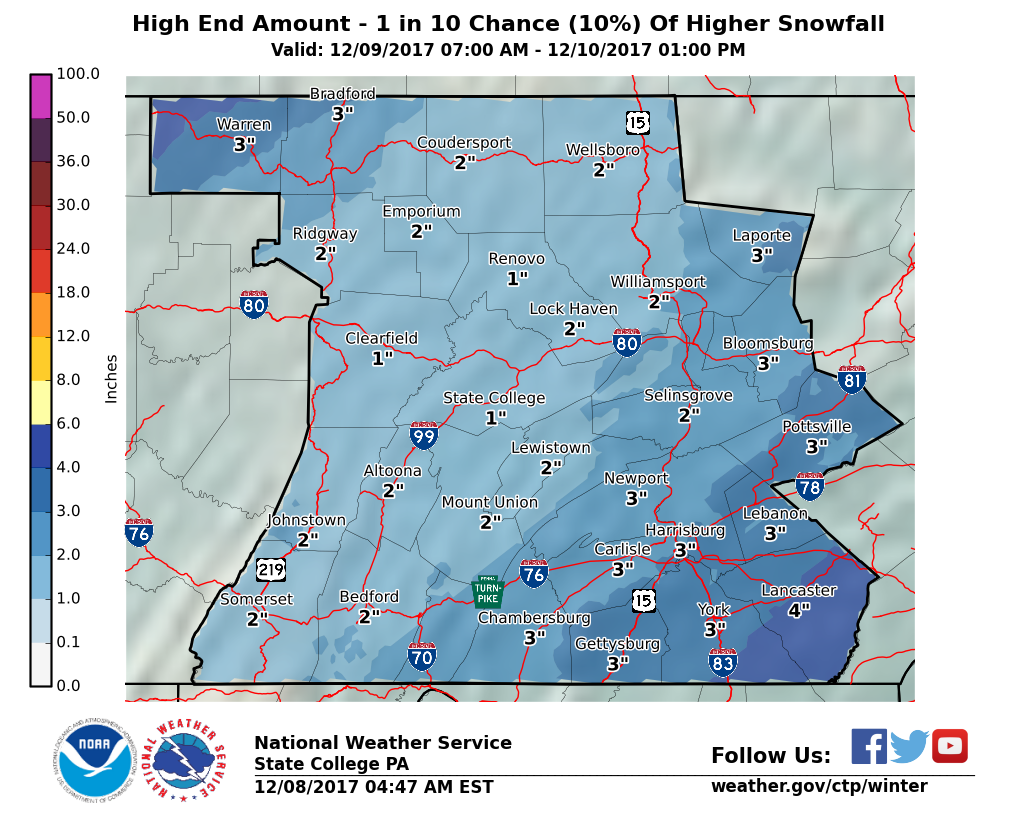 Probabilistic maximum snowfall amounts for our region. (Photo courtesy of the National Weather Service)
