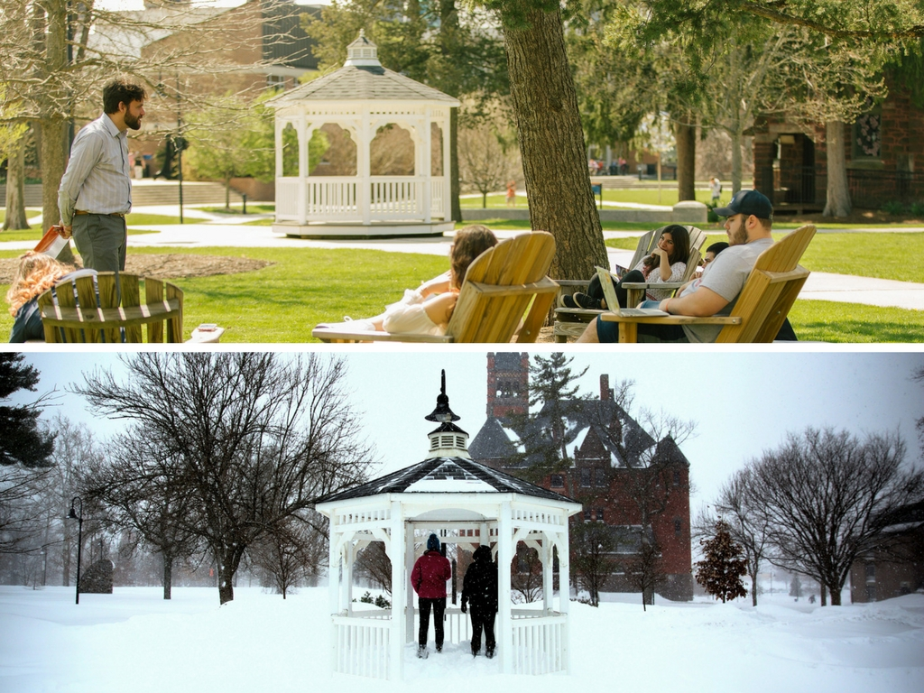 The gazebo was prominently located in winter and spring (Photo courtesy of Gettysburg College)