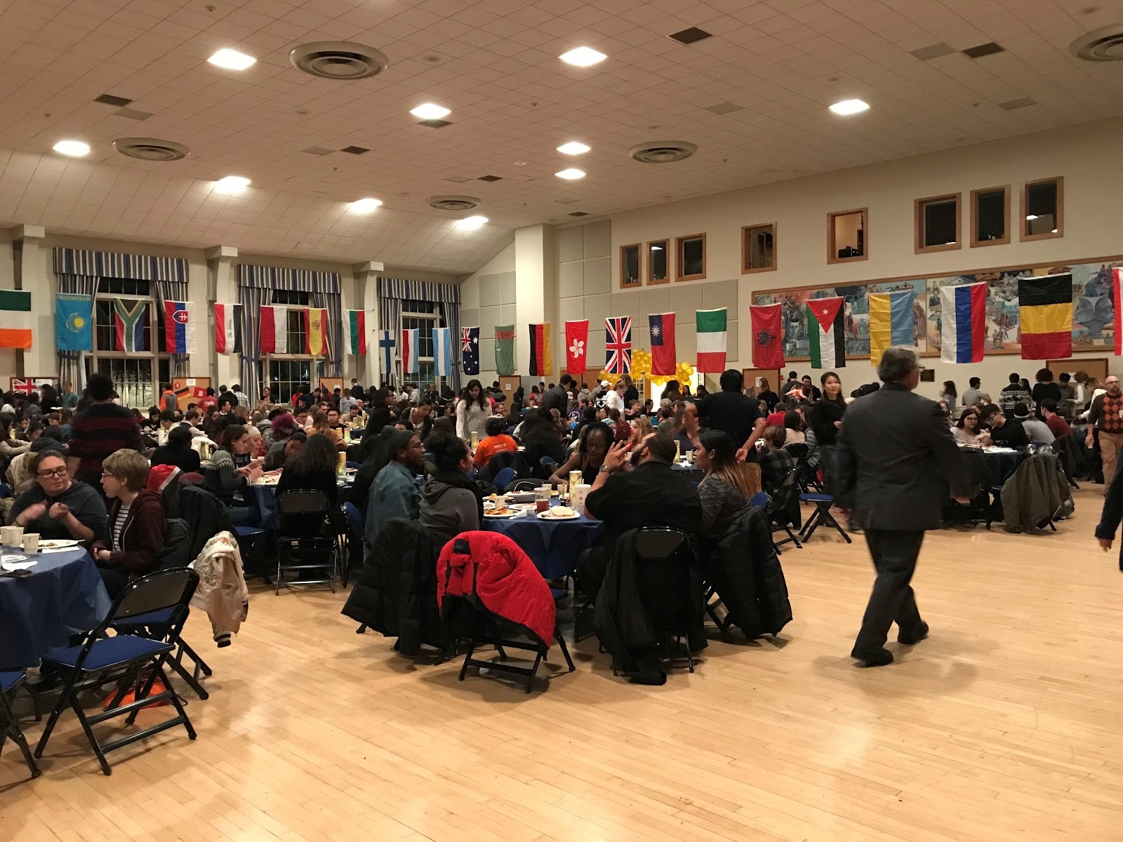 The CUB Ballroom was decorated with flags from around the world and filled with members of the Gettysburg community (Photo Maddie Neiman / The Gettysburgian)