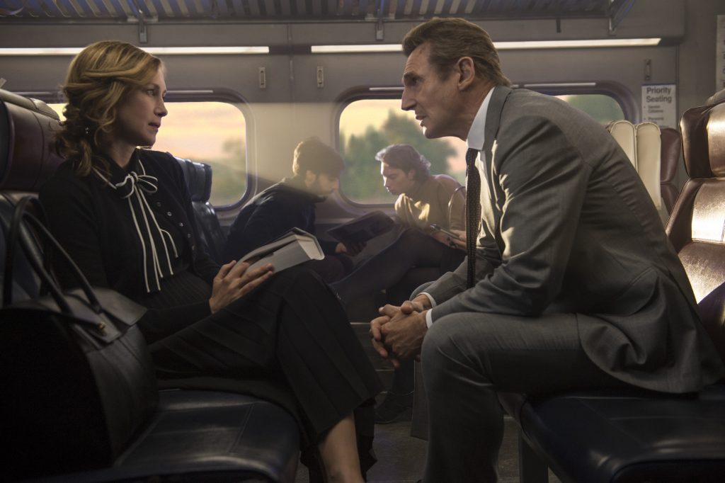 "Joanna (Vera Farmiga) and Michael (Liam Neeson) in ""The Commuter."" (Photo Jay Maidment/Lionsgate)"