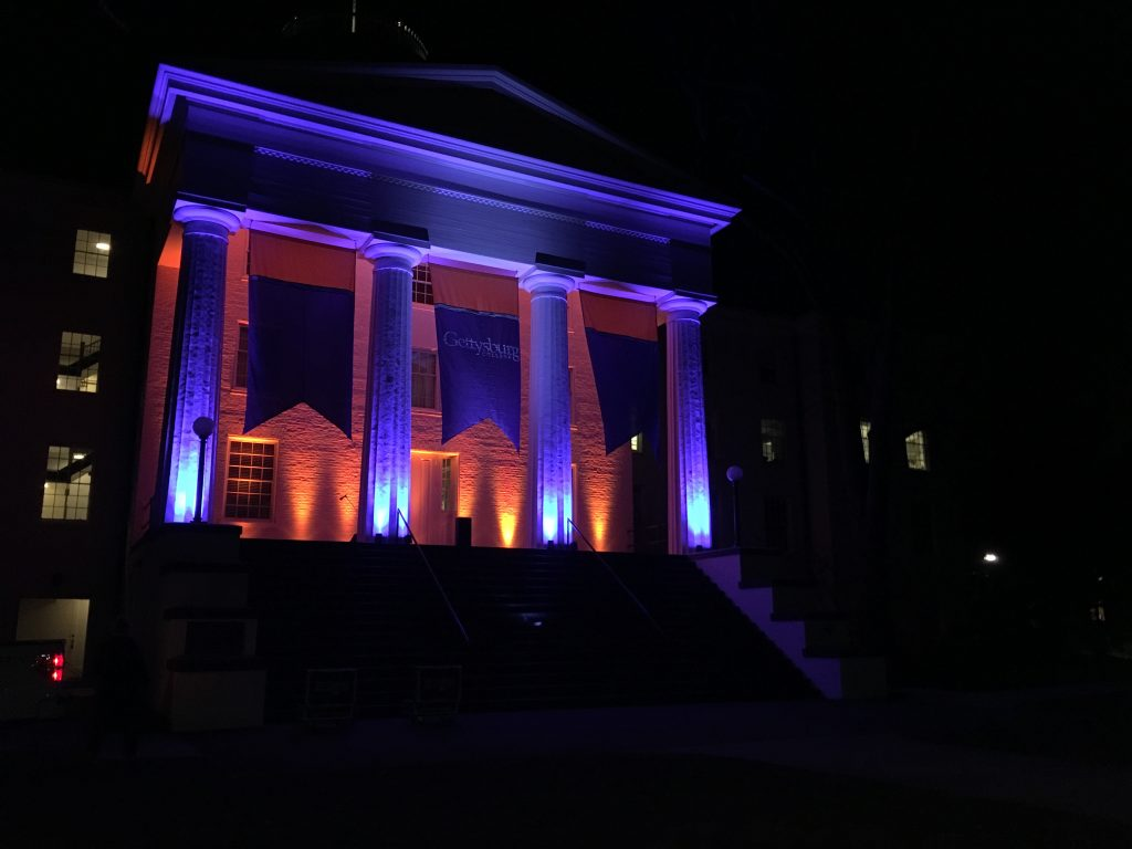 Penn Hall was illuminated for the occasion (Photo Sarah Kirkpatrick / The Gettysburgian)