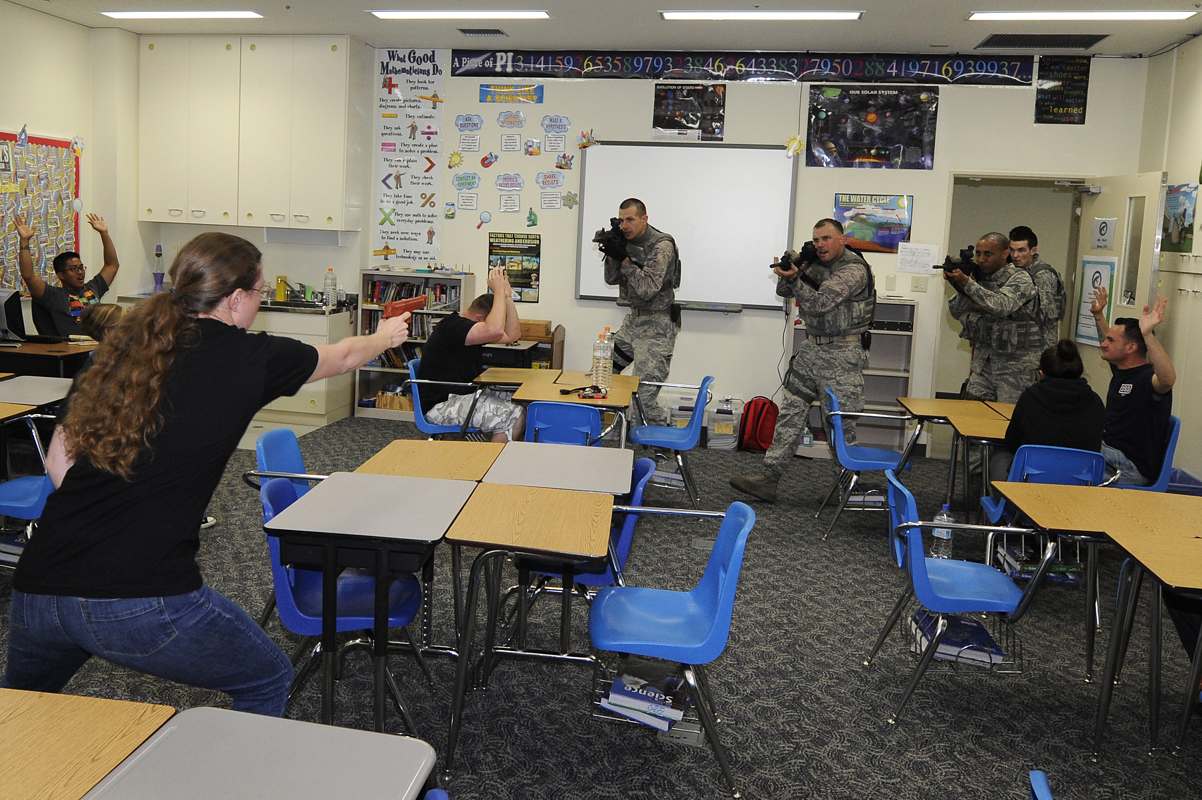 Active shooter training conducted in a classroom. (Courtesy of Pacific Air Forces)