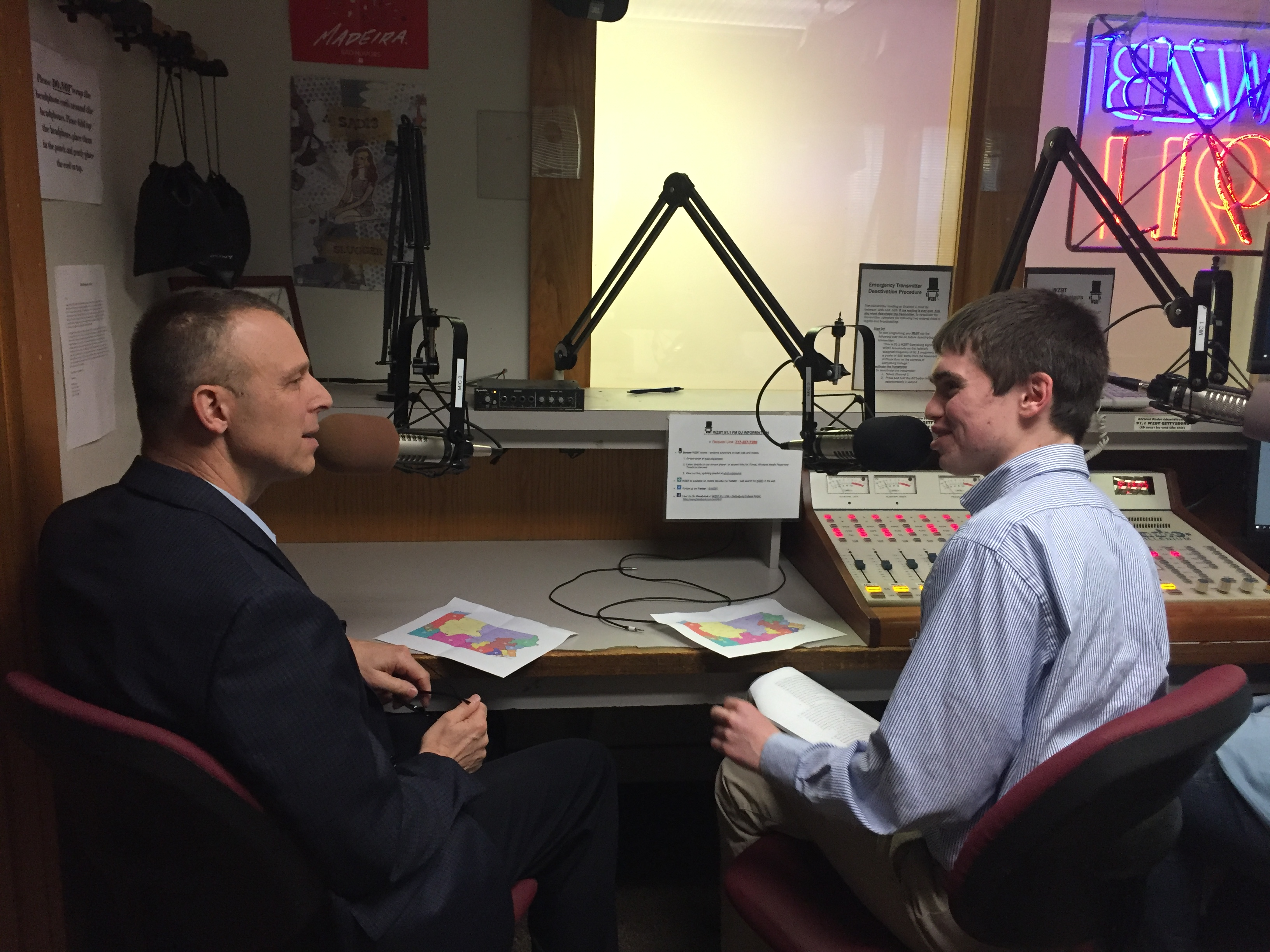 "Rep. Scott Perry (R-PA4) speaks with The Gettysburgian's Managing News Editor Benjamin Pontz in the WZBT studio for an interview with ""On Target"" Tuesday (Photo Zachary Sobeck / The Gettysburgian)"